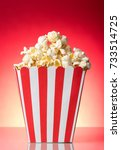 salty popcorn in large square... | Shutterstock . vector #733514725