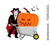 halloween wheelbarrow and... | Shutterstock .eps vector #733516321