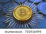 3d illustration of bitcoin over ... | Shutterstock . vector #733516495