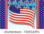 template american holidays ... | Shutterstock . vector #733516591