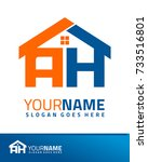 initial a   h real estate logo... | Shutterstock .eps vector #733516801