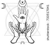 mystical symbol  human hand ... | Shutterstock .eps vector #733517041