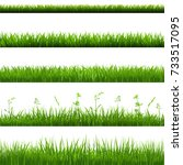 grass borders big set | Shutterstock . vector #733517095