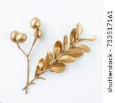 set of golden floral design...   Shutterstock . vector #733517161