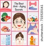 the best anti aging secrets for ... | Shutterstock .eps vector #733520161