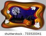 halloween night background....   Shutterstock .eps vector #733520341