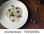 homemade pancakes on white... | Shutterstock . vector #733520581