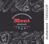 horizontal background with meat ... | Shutterstock .eps vector #733522159