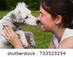 teenager girl with white...   Shutterstock . vector #733523254