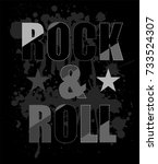 rock and roll typography and...   Shutterstock .eps vector #733524307