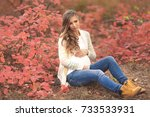 portrait of young pregnant... | Shutterstock . vector #733533931
