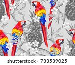 summer jungle pattern with... | Shutterstock .eps vector #733539025
