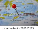 pin marked dili on map  east... | Shutterstock . vector #733539529