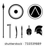 set of ancient greek spartan... | Shutterstock .eps vector #733539889