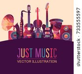 colorful music background.... | Shutterstock .eps vector #733555597