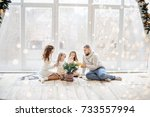 christmas and new year 2018. a... | Shutterstock . vector #733557994