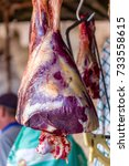 raw cow meat in outdoor party... | Shutterstock . vector #733558615