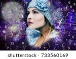 woman  time and numerology | Shutterstock . vector #733560169