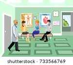 turn to doctor in hospital... | Shutterstock .eps vector #733566769