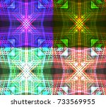 set of neon tribal textures.... | Shutterstock .eps vector #733569955