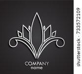 3d silver beautiful flower logo | Shutterstock .eps vector #733572109