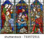 Small photo of LONDON, GREAT BRITAIN - SEPTEMBER 14, 2017: The Adoration of Magi on the stained glass in the church St. Michael Cornhill by Clayton and Bell from 19. cent.
