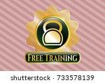 golden emblem with kettlebell... | Shutterstock .eps vector #733578139