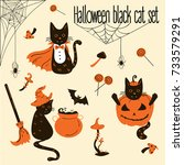 Stock vector halloween black cats trick or treat objects 733579291