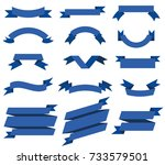 flat vector ribbons banners... | Shutterstock .eps vector #733579501