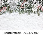 christmas background with... | Shutterstock . vector #733579507
