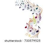music notes on a solide white... | Shutterstock .eps vector #733579525