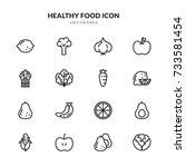 healthy food icon set | Shutterstock .eps vector #733581454