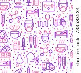 influenza seamless pattern with ... | Shutterstock .eps vector #733588534