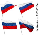 Russia Flag Waving On White...