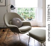 comfortable light green... | Shutterstock . vector #733589674