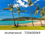 sunny day on sandy beach with... | Shutterstock . vector #733600069
