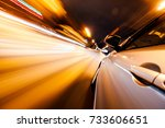 car on the road with motion...   Shutterstock . vector #733606651