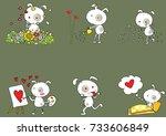 fat dog cartoon with heart shape   Shutterstock .eps vector #733606849