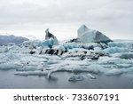 iceberg in jokulsarlon glacier... | Shutterstock . vector #733607191