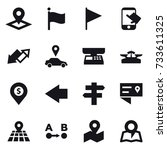 16 vector icon set   pointer ... | Shutterstock .eps vector #733611325