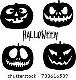 vector halloween pumpkin... | Shutterstock .eps vector #733616539
