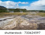 icelandic landscape with... | Shutterstock . vector #733624597