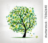 Art Tree With Figures Green Fo...