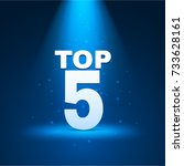 top 5 text with illumination.... | Shutterstock .eps vector #733628161