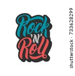 rock n roll lettering text.... | Shutterstock .eps vector #733628299