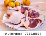 duck meat fresh  raw duck legs... | Shutterstock . vector #733628839