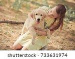 retriever pup lovely scene cute ...   Shutterstock . vector #733631974