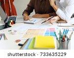 stylish fashion designer work... | Shutterstock . vector #733635229