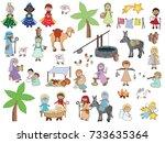 nativity cartoon characters set ... | Shutterstock . vector #733635364
