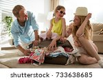 happy family in colorful summer ... | Shutterstock . vector #733638685